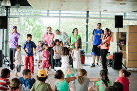 Entertainers put on a show for the children at Ronald McDonald House Auckland