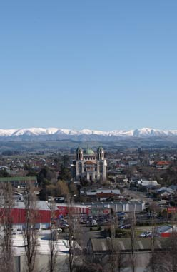 View of Town to Mountains - Timaru