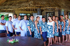 The friendly staff at Tamanu Beach