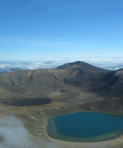 View from the saddle of the Tongariro Alpine Crossing